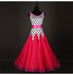 White with black polka dot fuchsia women competition performance waltz tango flamenco dance dresses
