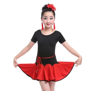 Wholesale girls latin dress performance school competition professional salsa chacha dancing outfits