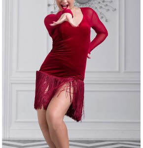 Wine black Sexy Latin Dance Dress Women lady velvet Salsa Samba Tango Ballroom Competition Costume Lady Dance