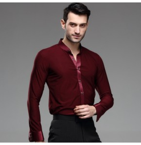 Wine red colored long sleeves stand down collar men's male competition latin ballroom dance tops shirts