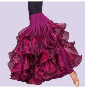 Wine red colored women's fashion competition stage performance women's  ruffles big skirted ballroom tango waltz dance long skirts