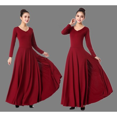 Wine red modern dance  ballet dance long length women's female competition stage performance modern dance ballet dresses