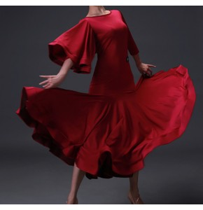 Wine red one shoulder flare sleeves women's adult female competition stage performance ballroom tango waltz dancing dresses