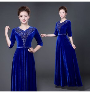 Wine red royal blue red velvet stones v neck half sleeves women's female competition stage performance chorus singers dancing dresses