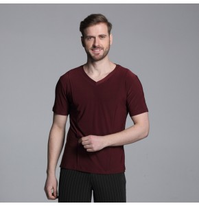 Wine red royal blue white  Black Waltz Latin Dance Top Men Latin Dance Shirts Men Ballroom Dance Shirts tops