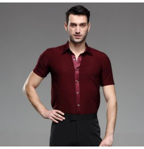 Wine red short sleeves down stand collar men's male man competition latin ballroom dance tops shirts