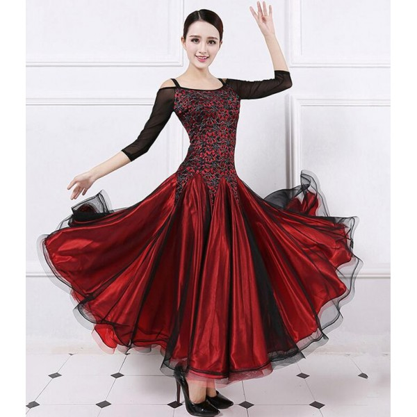 Wine royal blue lace long sleeves Ballroom Competition Dress For ...