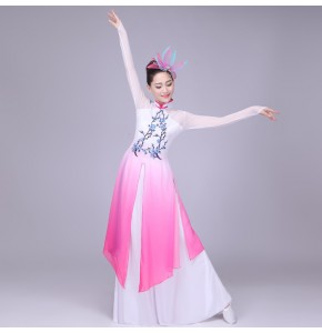 Women fuchsia gradient color Chinese Ancient Costume classical Dancer Wear long Sleeve Traditional folk Costume Dancing Dresses