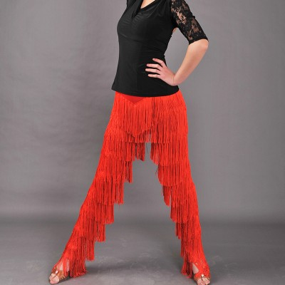 Women girls Red black tassel black latin dance pants latin Tango Dance cha cha latin dance fringe pants trousers
