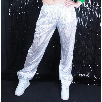 Women Hip-hop Pants Loose silver yellow black Sequin Jazz Dance Pant Stage Performance Costumes trousers
