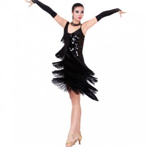 Women Latin Dance Dress Beads Tassels Rumba Competition Ballroom Dress Choker