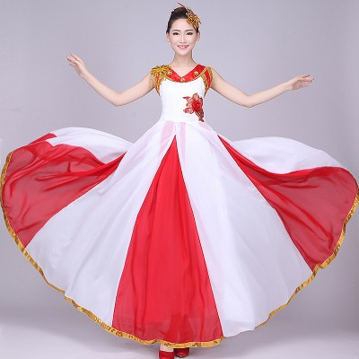 Women Red white Younger Chinese Folk Dance Costumes Chinese Fan Dance Costumes