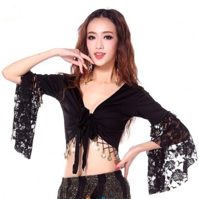 Women Tribal Belly Dance Top Lace Butterfly Trumpet Half Sleeve Wrap Dancing Deep V Neck Costume Bra