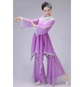 Women's Ancient gradient Dress Traditional yangko Cosplay Clothing violet Women Chinese Ancient Costume outfits