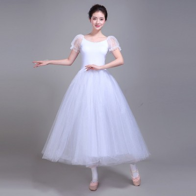 Women's ballet dress white female modern dance long length swan lake performance dresses