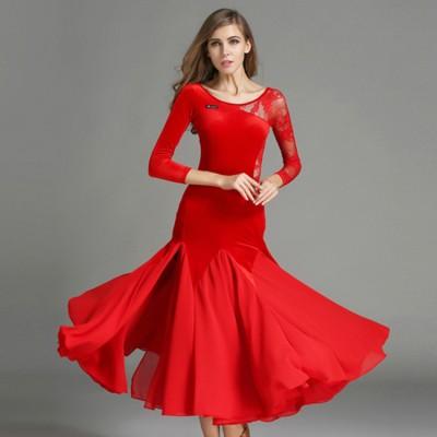 Women s ballroom dance dresses velvet competition stage performance salsa  rumba chacha waltz tango dancing dress 3a6be1e85