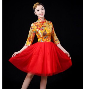 Women's Chinese dragon folk dance dresses red yellow blue female drummer stage performance film cosplay dancing outfits