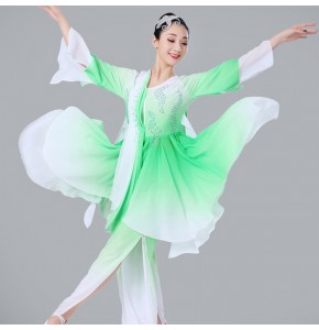 Women's Chinese folk dance costumes ancient ethnic minority china fairy cosplay stage performance fan competition yangko dancing  dresses