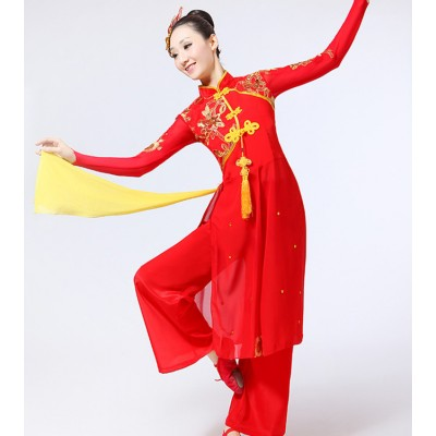 Women's chinese folk dance costumes female red dragon ancient classical  traditional film cosplay yangko fan dance dresses