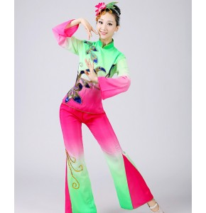 Women's chinese folk dance costumes for female green pink competition performance traditional yangko fan dance dresses