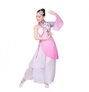 Women's Chinese folk dance costumes gradient colored gray fuchsia blue classical traditional chinese dance film cosplay performance dresses