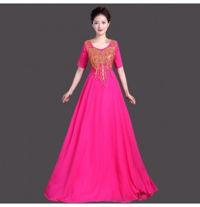 Women's Chorus opening dancing dresses female blue red pink embroidery long length singers modern dance performance  dresses costumes