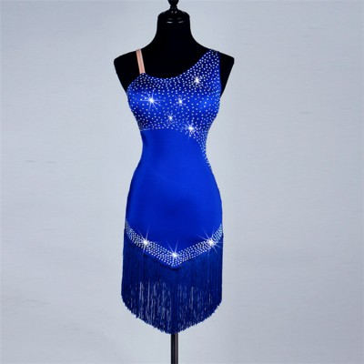 Women's female competition professional rhinestone handmade salsa cha cha rumba fringes latin dance dresses