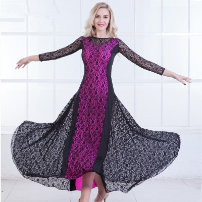 Women's flamenco ballroom dress female lady lace long length competition stage performance ballroom waltz tango dancing dresses costumes