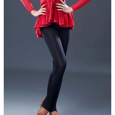 Women's latin dance pants competition gymnastics performance professional ballroom chacha rumba salsa dance pants leggings