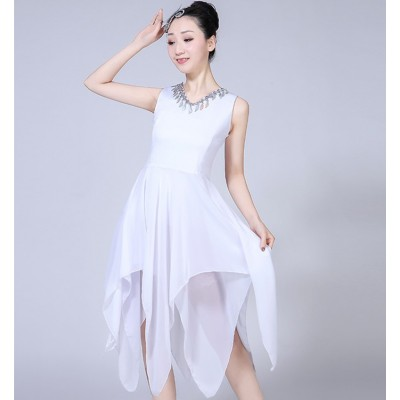 Women's modern dance ballet dress white red black performance competition long ballet dancing dresses