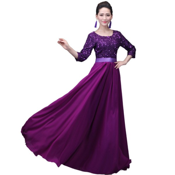 Womens Sequined Chorus Modern Dance Dresses Female Competition