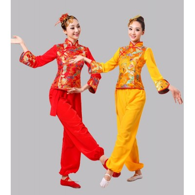 Yellow Chinese Folk Dance Clothes Yangko Dance Square Drum Dance Costume Chinese Traditional Dance Costumes outfits