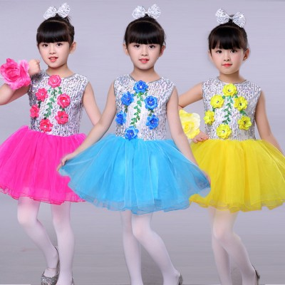 Yellow fuchsia turquoise sequined flowers glitter fashion girl's boy's school modern dance jazz singers dancers jazz host dancing outfits dresses