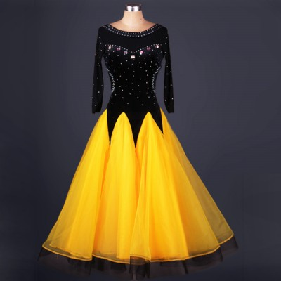 Yellow gold green white black rhinestones velvet patchwork backless long length competition performance ballroom waltz tango dance dresses