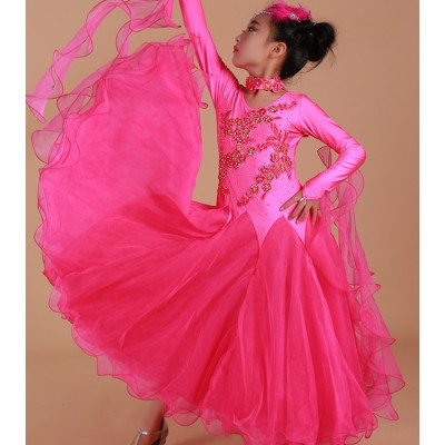 Yellow green royal blue fuchsia turquoise long sleeves diamond rhinestones competition professional girl's kids children ballroom tango waltz dance dresses