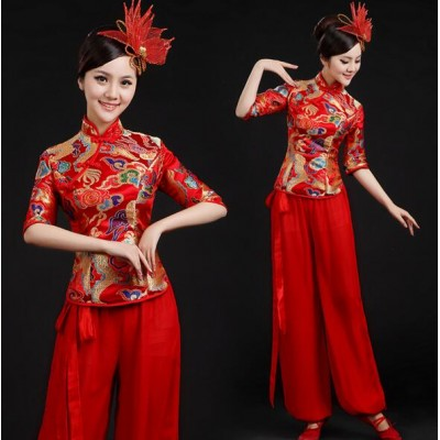 Yellow red Ancient Traditional Fan Dance Younger Chinese Folk drummer Fan Dance Costumes