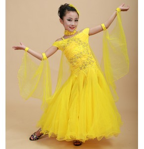 Yellow red turquoise Children Standard Ballroom Dance Competition Dresses Waltz/Tango Dresses Kids For Sale Girls Jazz Dance Costumes