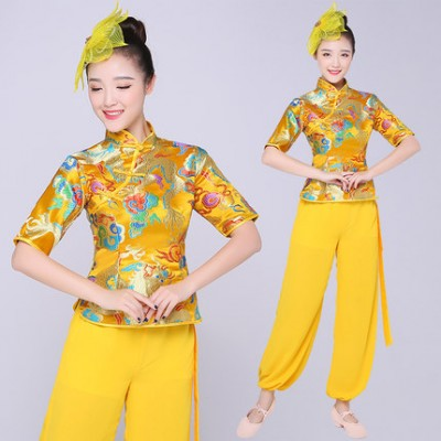Yellow Traditional chinese dance costumes women dragon folk dance costume  for woman fan drummer clothing performance outfits