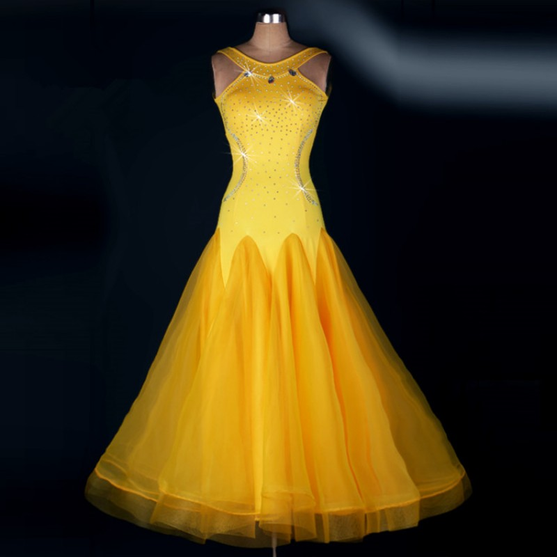 Yellow Women Standard Ballroom Dresses stones Girls Long Sleeve  Stretchy Dancing Costume Adult Waltz Ballroom Competition Dance Dress