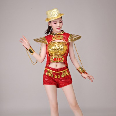 Jazz dance costumes for women girls gogo dancers stage performance hiphop cheer leaders magician dancing tuxedo tops and shorts