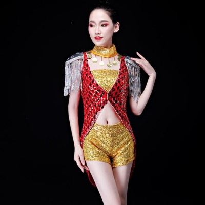 Jazz dance costumes for women gogo dancers hiphop cheer leaders video group dancers stage performance night club ds tuxedo tops and shorts