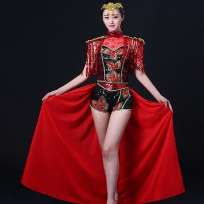 Jazz dance costumes for women singers tuxedo shorts red black tassels paillette modern dance hiphop drummer performance outfits