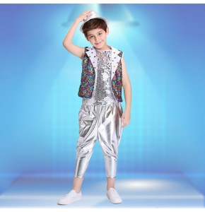 Jazz Dancing Practicing Suit rainbow paillette Modern Dance Costumes Boy Dance Clothing Performance Kids Stage Show Dancing Costume