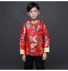 Kid China dragon silk cotumes of the Tang Dynasty for boys children Chinese traditional garments jacket costume pants for children boy clothing
