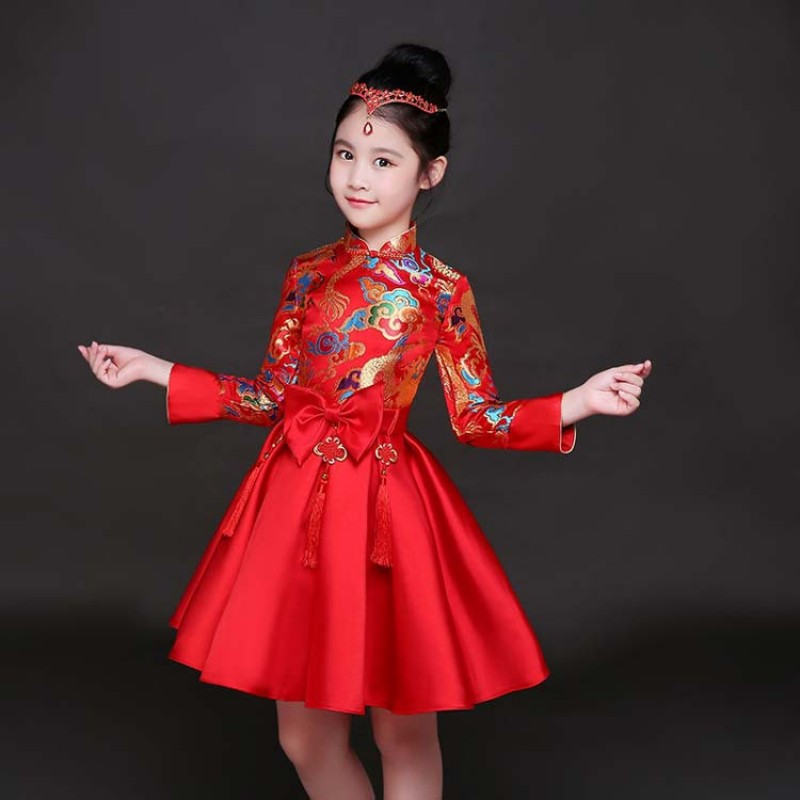 Christmas Party Dresses.Kid China Dragon Style Evening Dresses Tang Dynasty New Year Christmas Party Cosplay Chinese Traditional Garments Costumes For Children Girl Clothing
