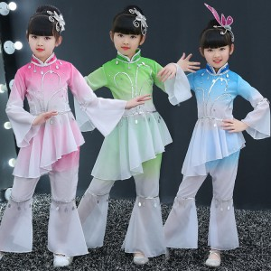 Kids ancient chinese folk dance costumes for girls pink green gradient color traditional stage performance fairy yangko fan dancing dresses