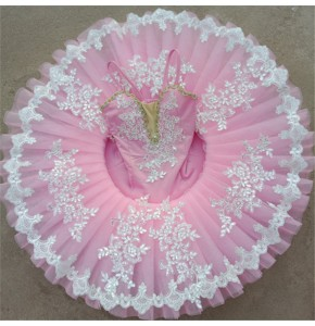 Kids ballet dance dresses light pink tutu skirts modern dance ballerina competition stage performance pancake skirt costumes