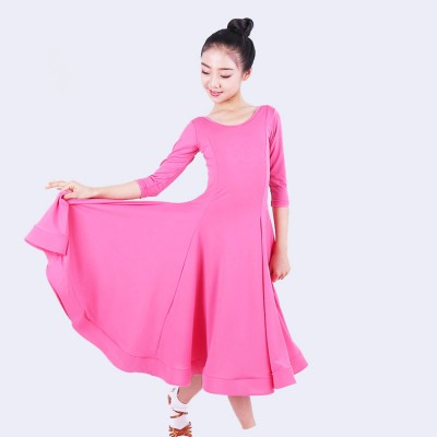 Kids ballroom latin dance dresses girls fuchsia green rumba salsa ballroom chacha dance skirts costumes dress