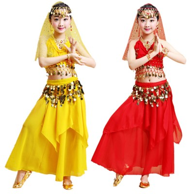 Kids belly dance dresses  girls red blue stage performance photo drama copay competition Indian Egypt queen dancing tops and skirts costumes