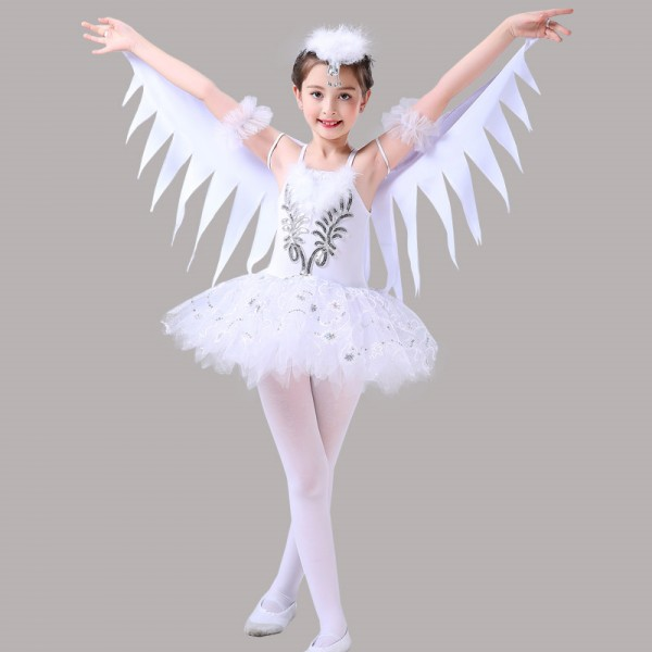 Kids Birds Ballet Dance Dress Fairy Angel Cosplay Cartoon Modern Dance Cosplay Dress Costumes Material Microfiber And Spandex Stretchable Fabric C